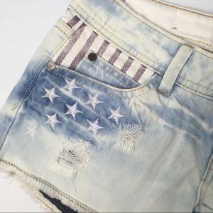 YMI Shorts - YMI American flag distressed denim shorts, stars